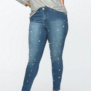 Eloquii Pearl Embellished Skinny Jeans
